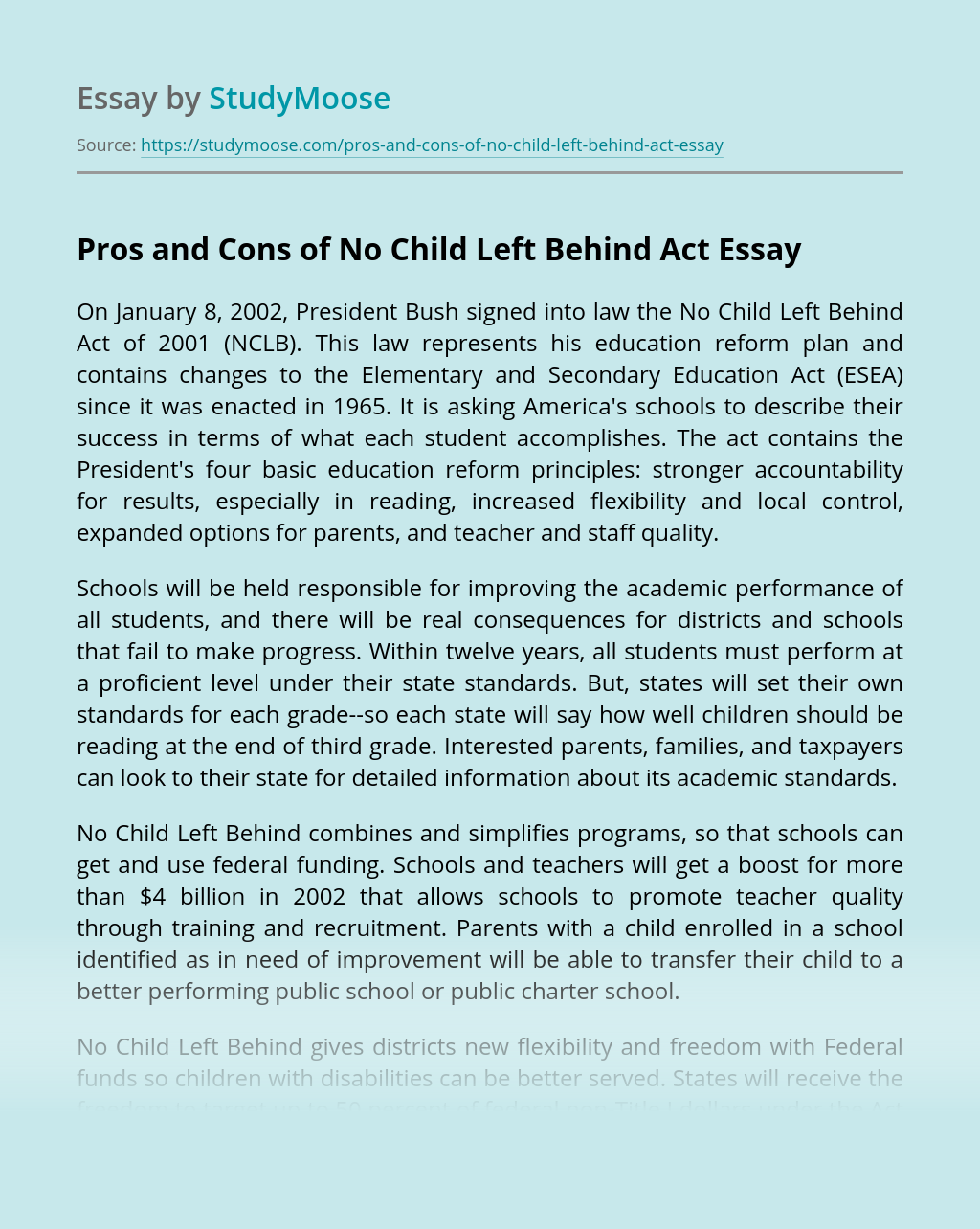 Pros and Cons of No Child Left Behind Act