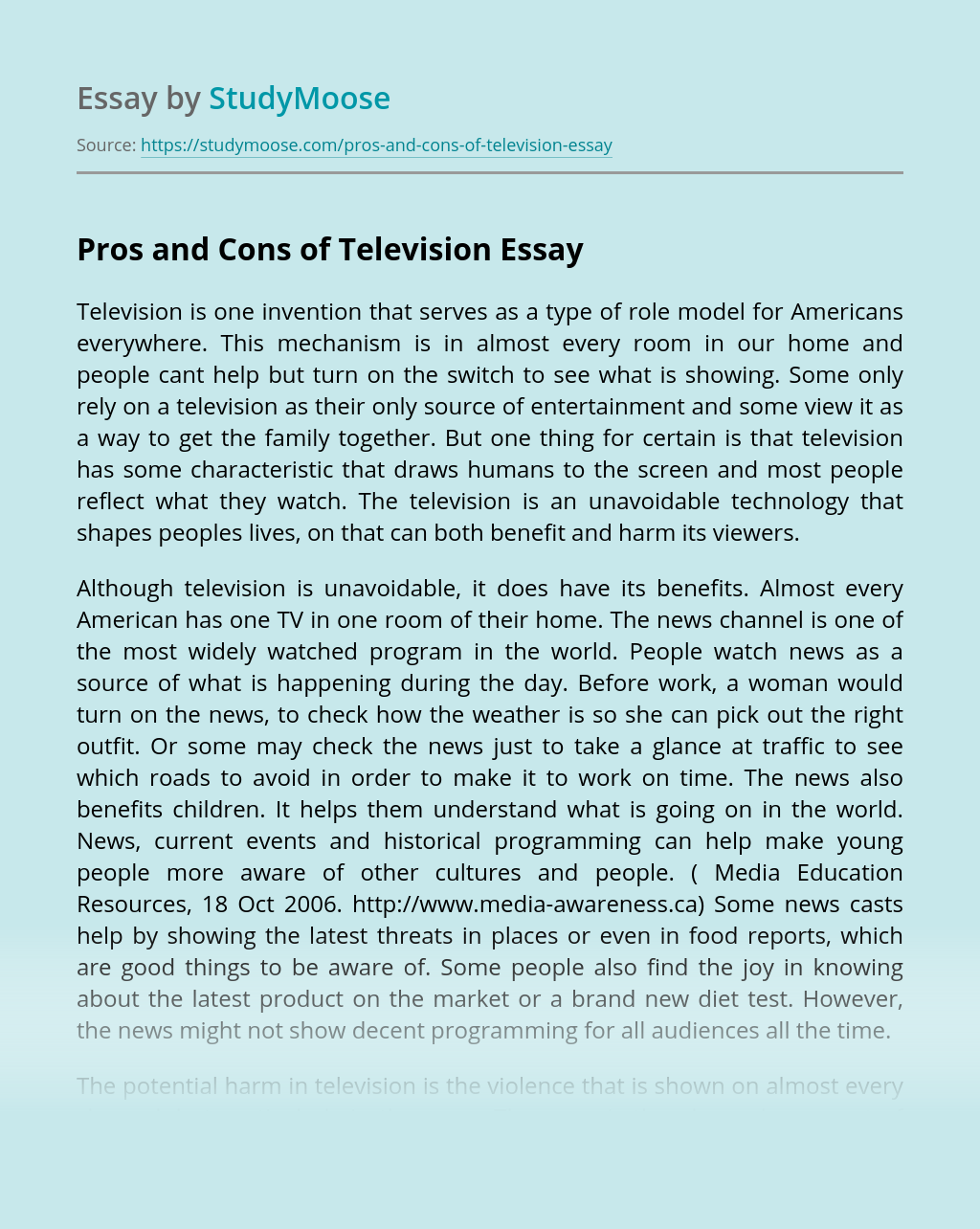 Pros and Cons of Television