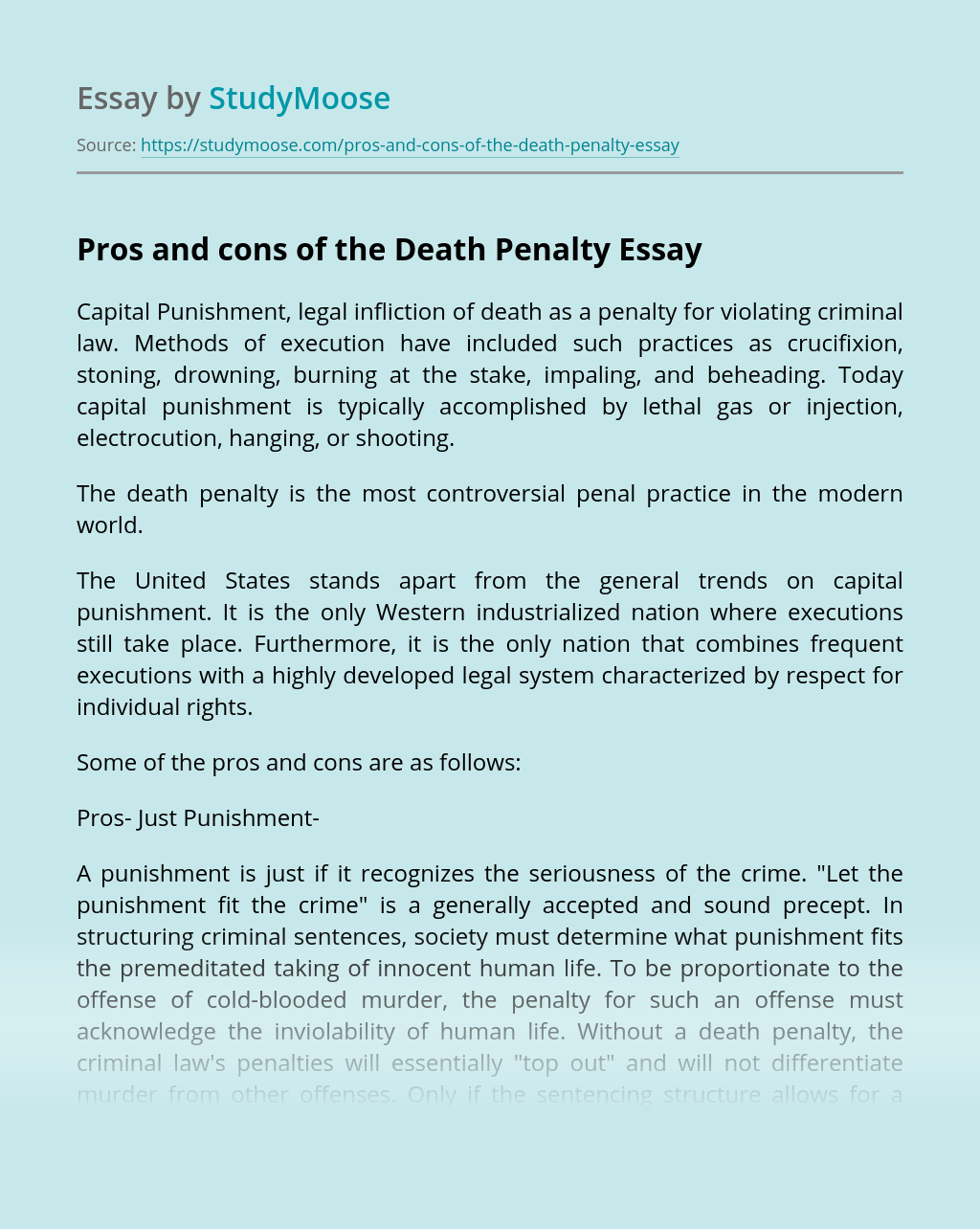 the death penalty is not effective essay