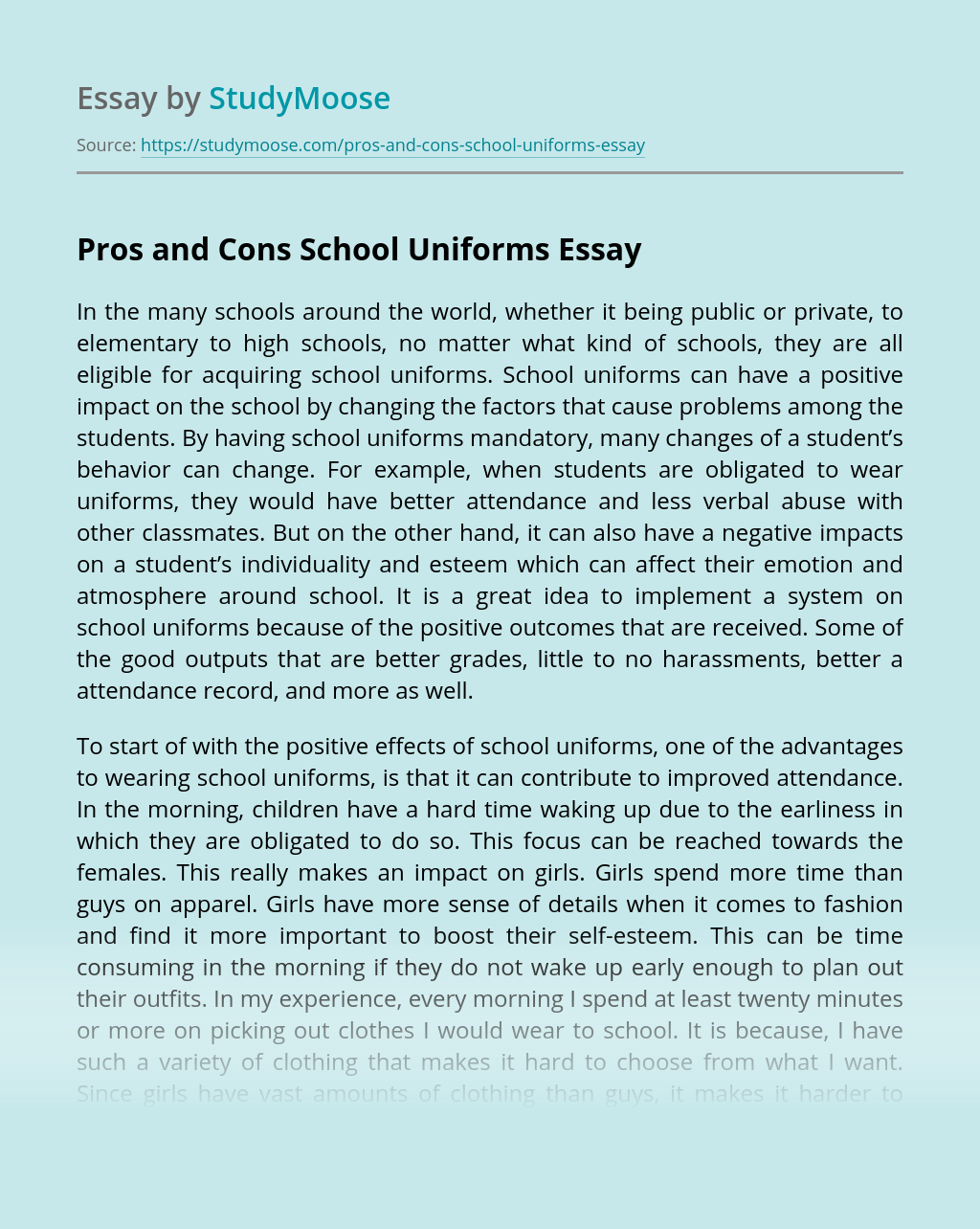 Pros and Cons School Uniforms