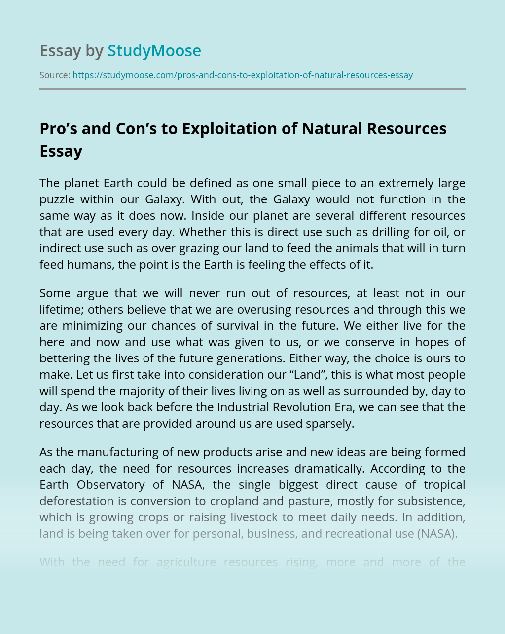 Pro's and Con's to Exploitation of Natural Resources