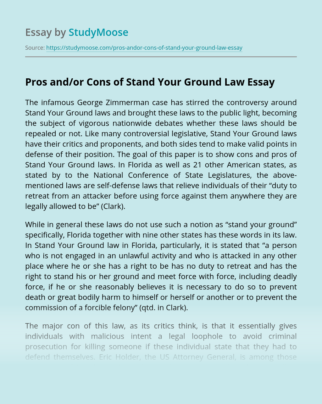 Pros and/or Cons of Stand Your Ground Law