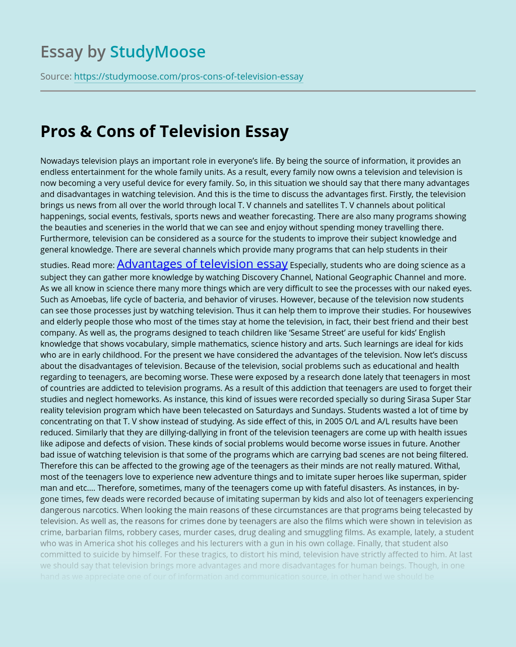Pros & Cons of Television