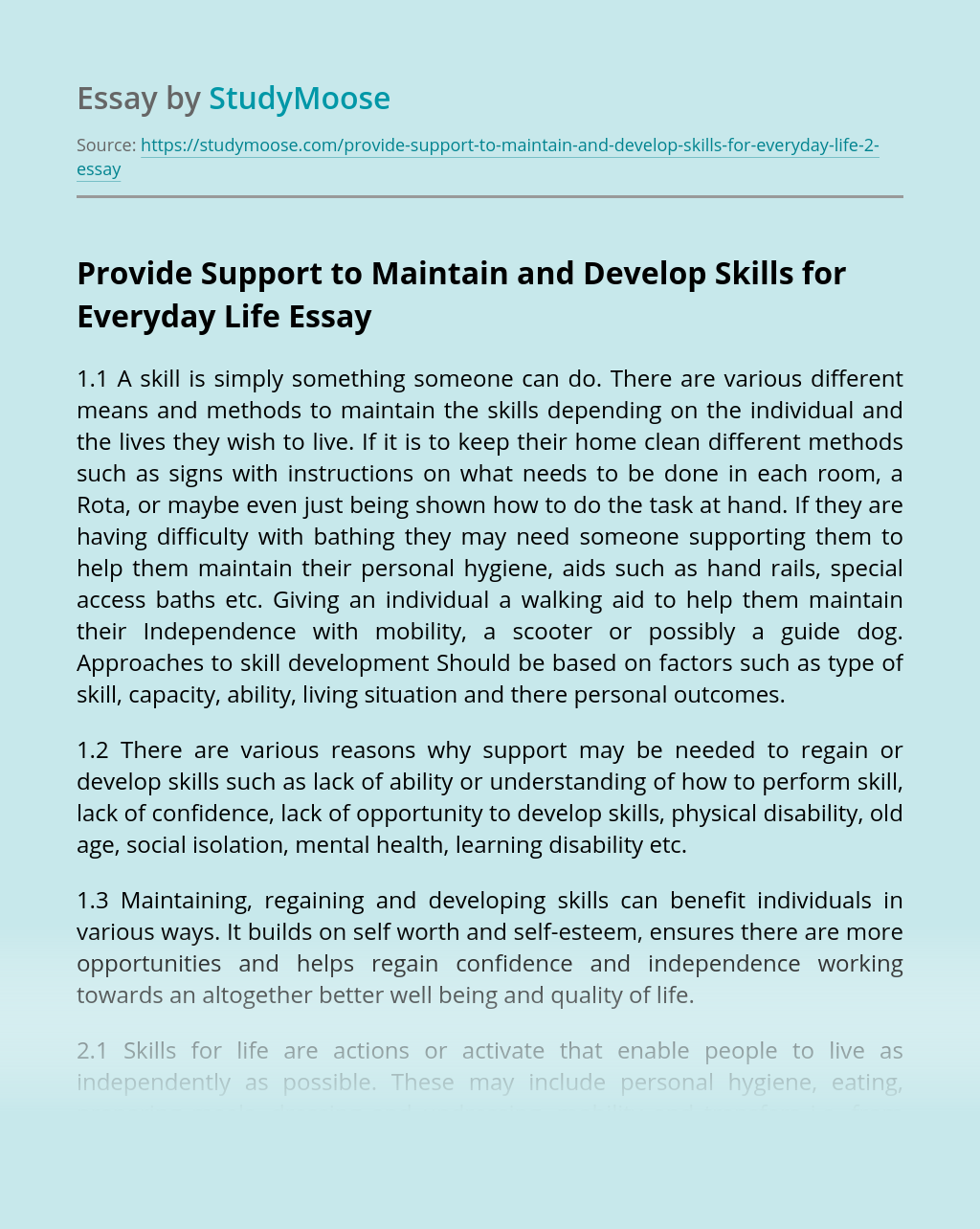 Provide Support to Maintain and Develop Skills for Everyday Life