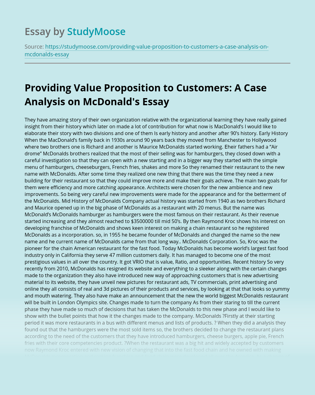 Providing Value Proposition to Customers: A Case Analysis on McDonald's