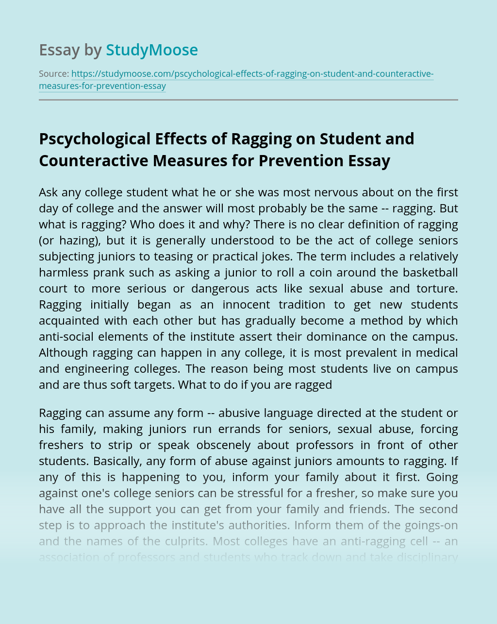 Pscychological Effects of Ragging on Student and Counteractive Measures for Prevention