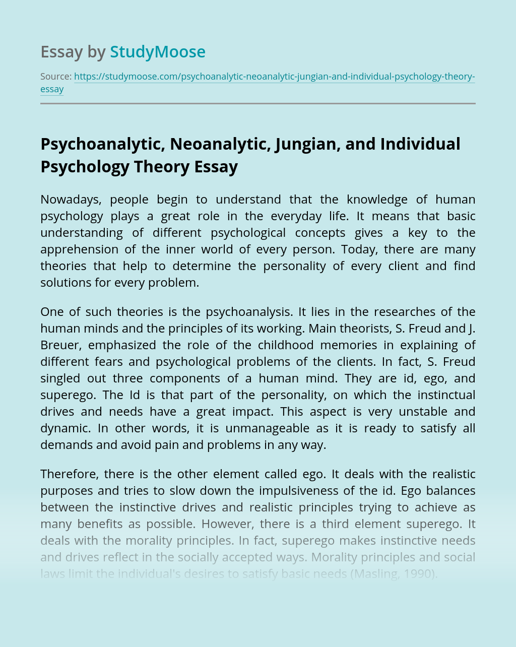 Psychoanalytic, Neoanalytic, Jungian, and Individual Psychology Theory