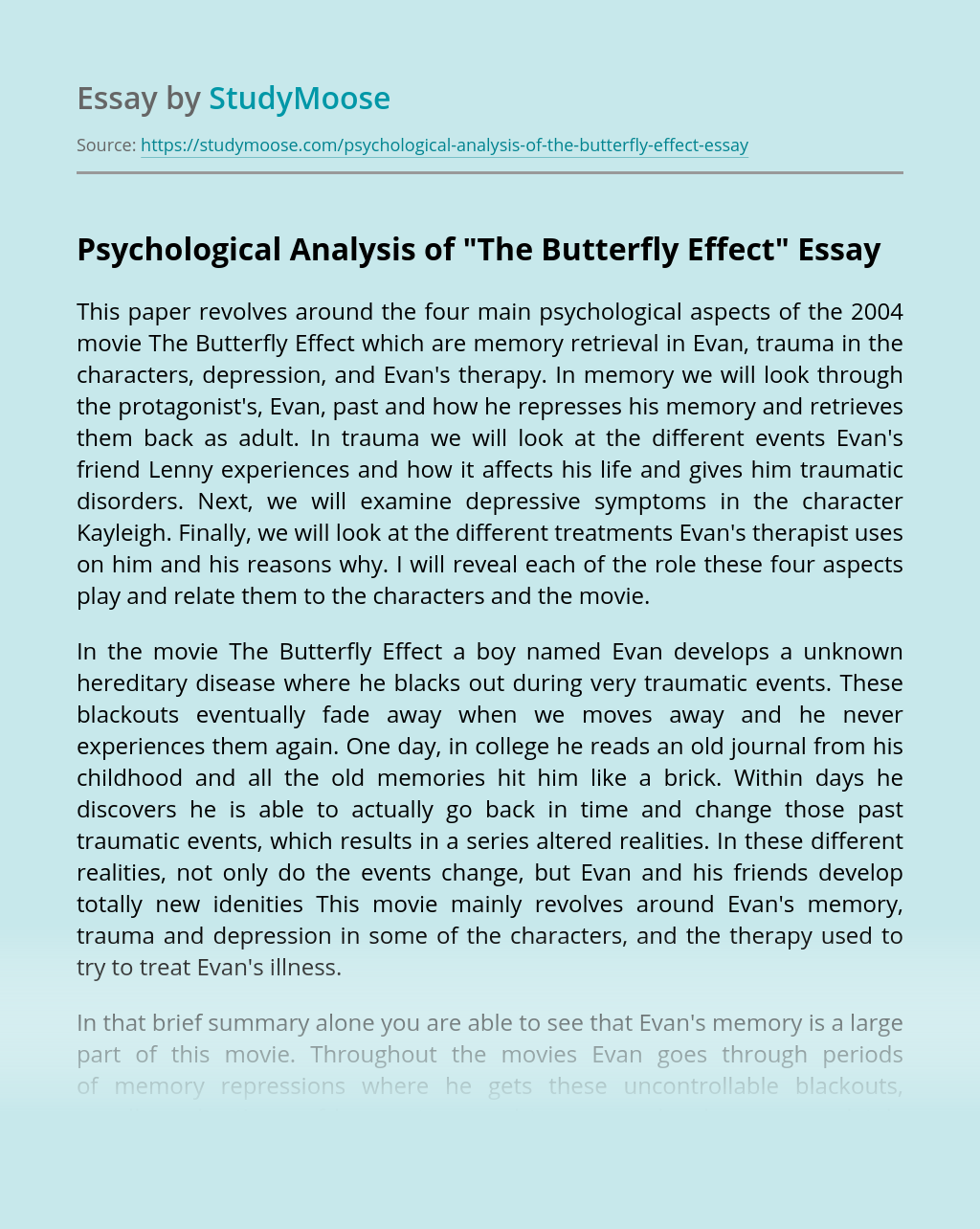 Psychological Analysis of