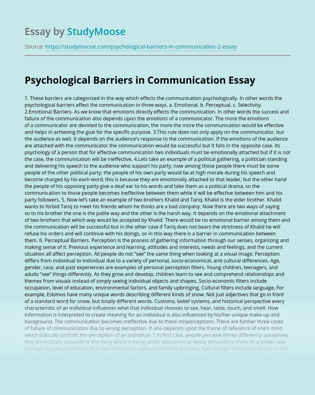 Psychological Barriers in Communication