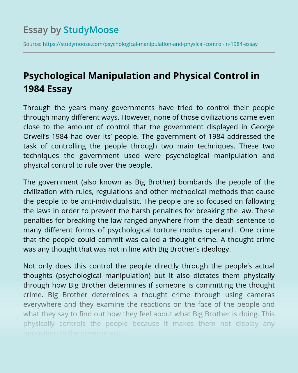Psychological Manipulation and Physical Control in 1984