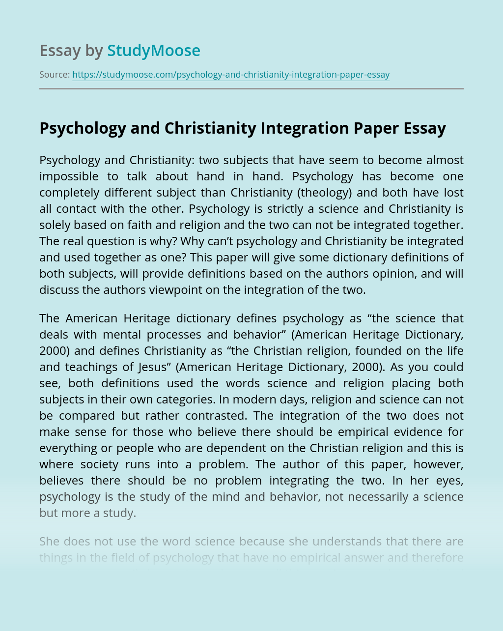 Psychology and Christianity Integration Paper