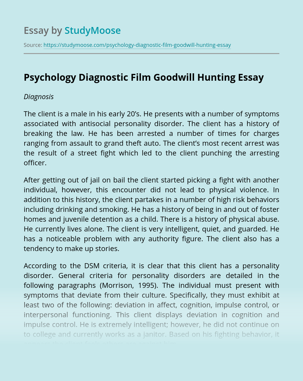 Psychology Diagnostic Film Goodwill Hunting
