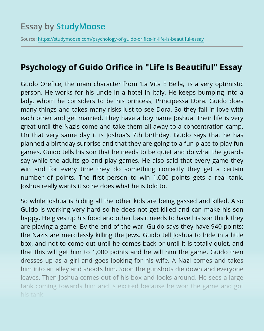 """Psychology of Guido Orifice in """"Life Is Beautiful"""""""