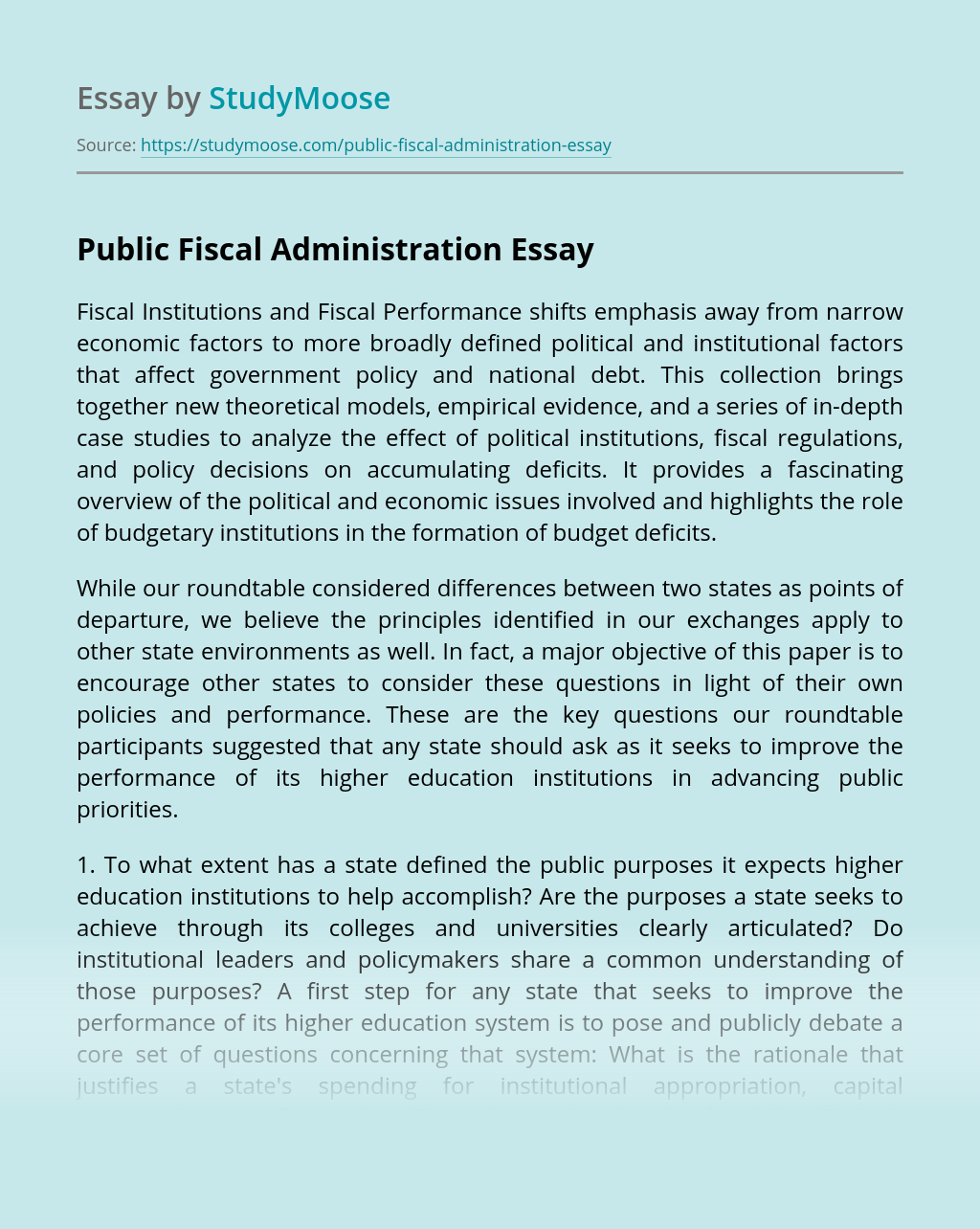 Public Fiscal Administration