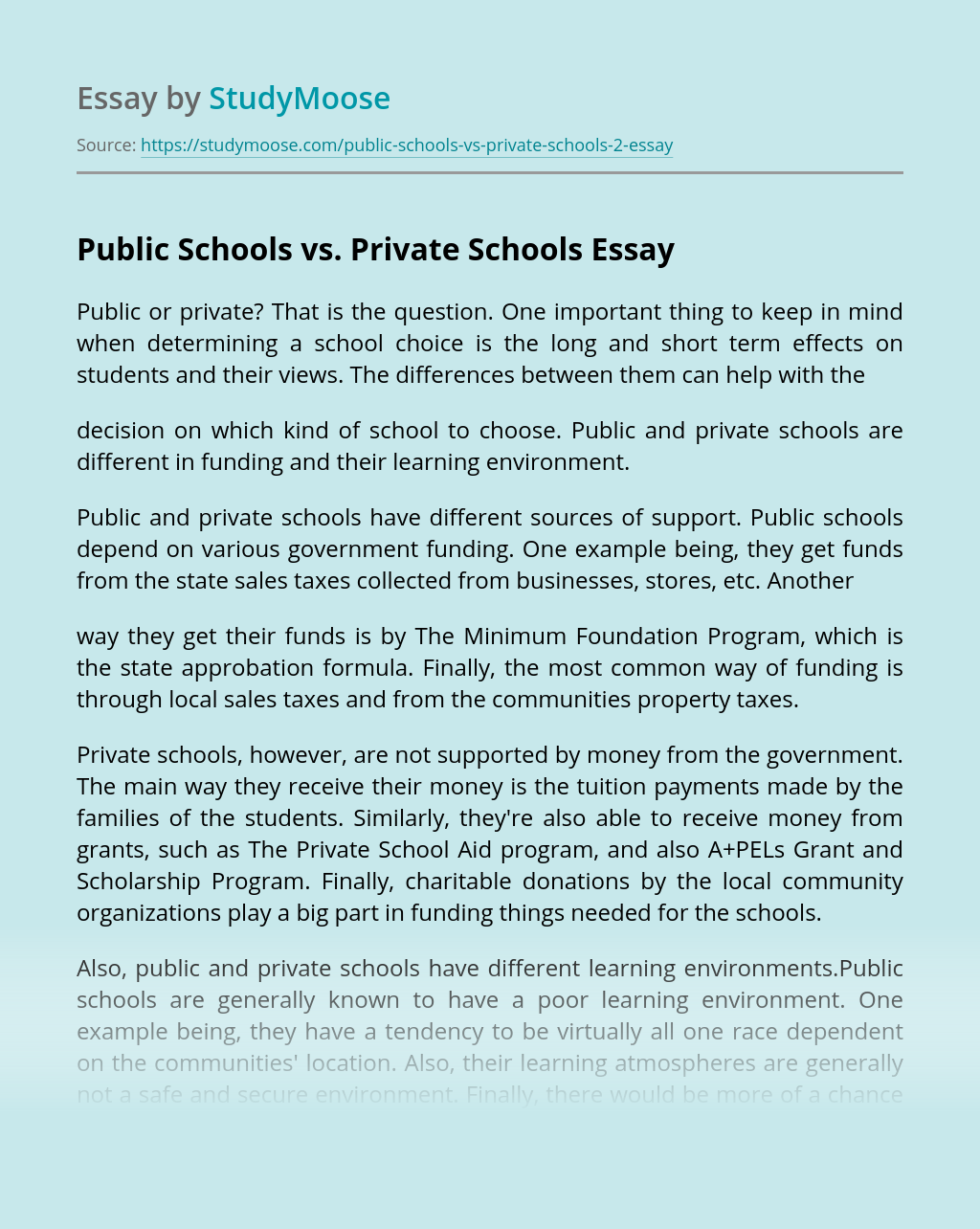 Public Schools vs. Private Schools