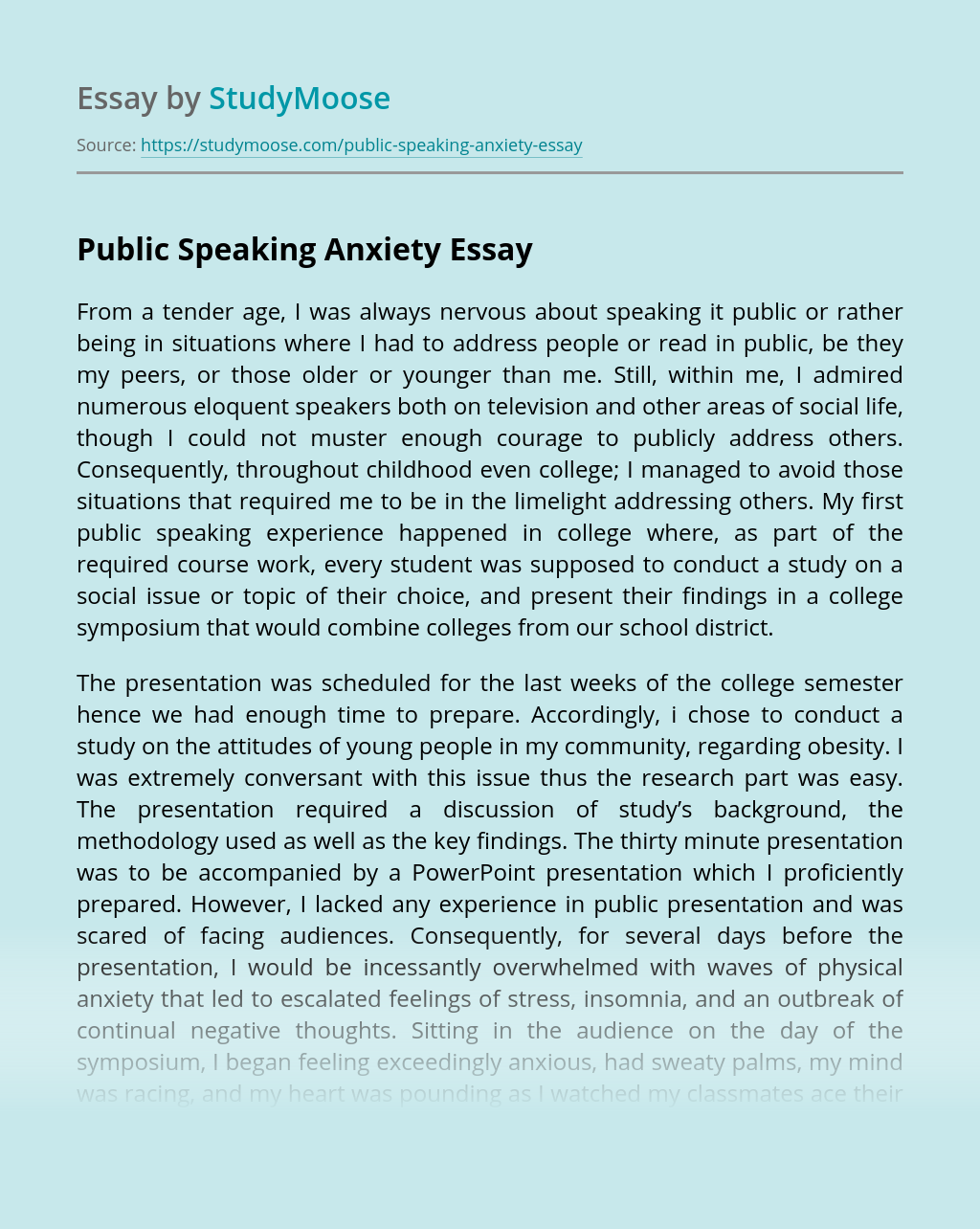 Public Speaking Anxiety
