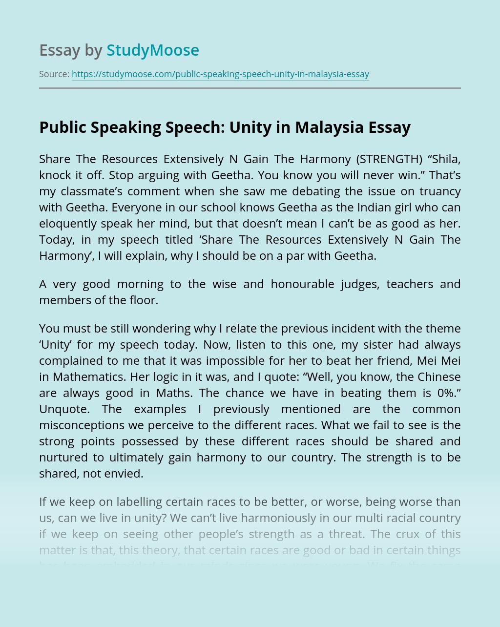 Public Speaking Speech: Unity in Malaysia