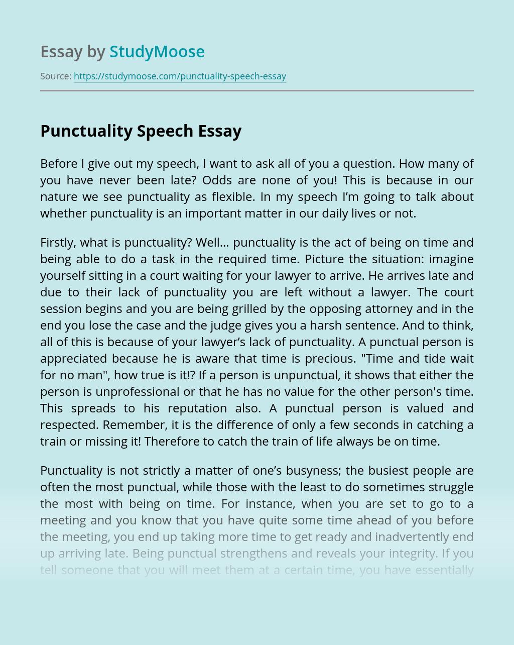 Punctuality Speech