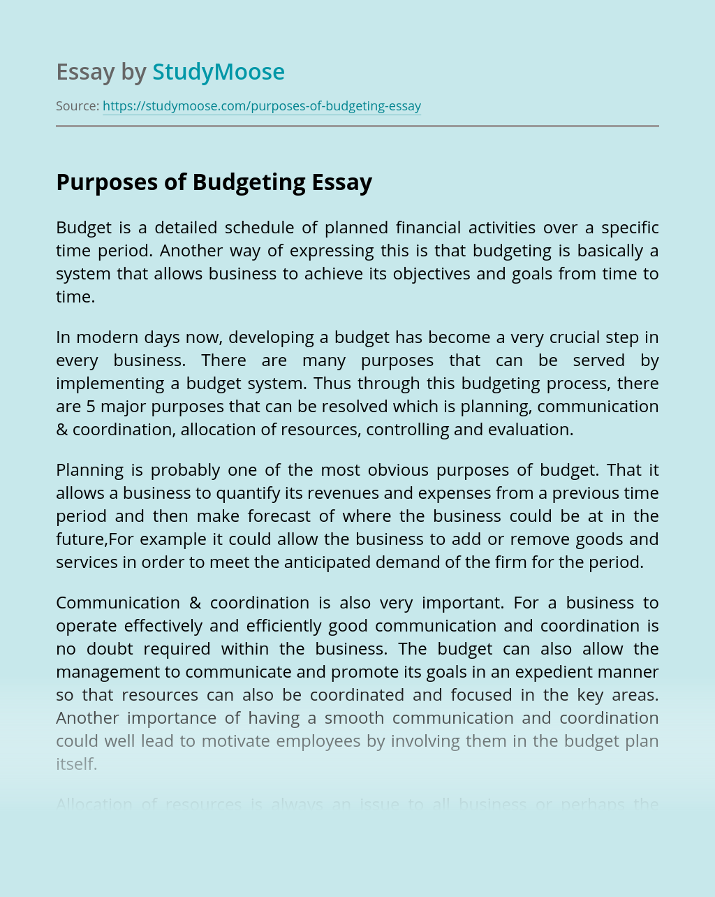 Purposes of Budgeting