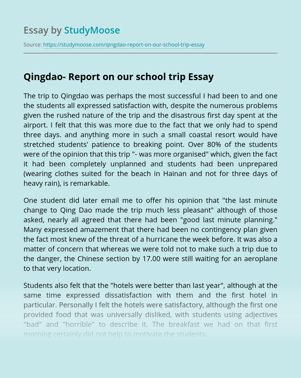 Qingdao- Report on our school trip