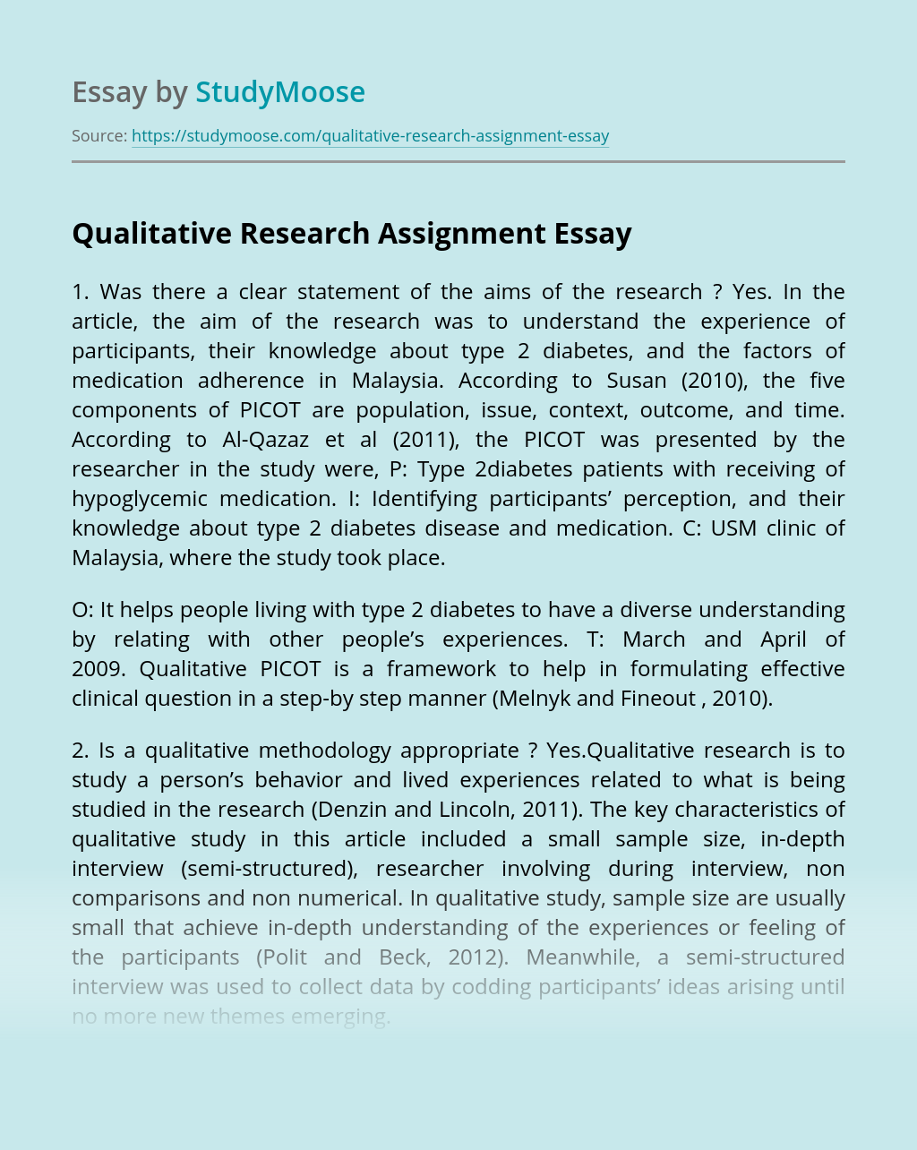 Qualitative Research Assignment
