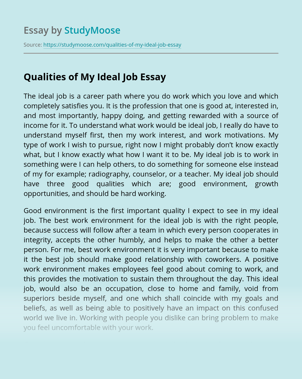 Qualities of My Ideal Job