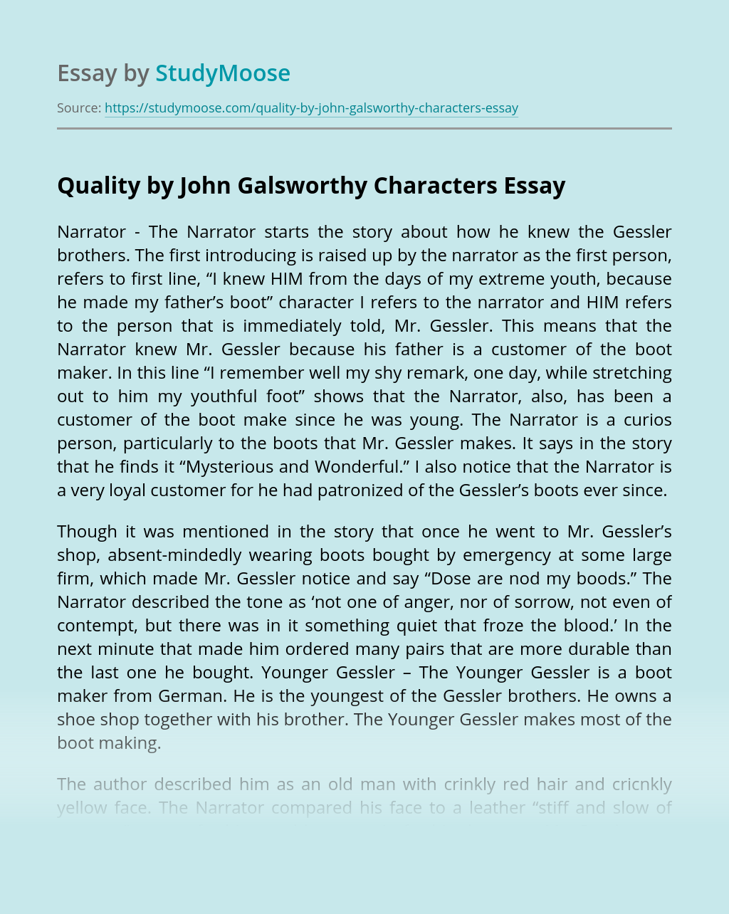 Quality by John Galsworthy Characters