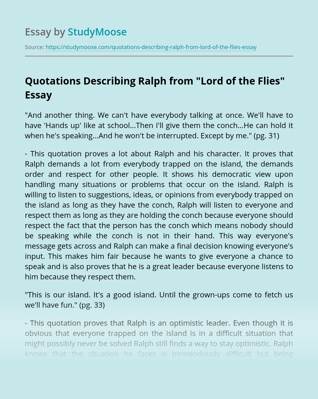 """Quotations Describing Ralph from """"Lord of the Flies"""""""
