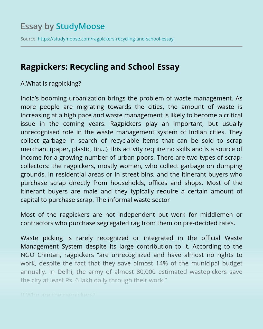 Ragpickers: Recycling and School