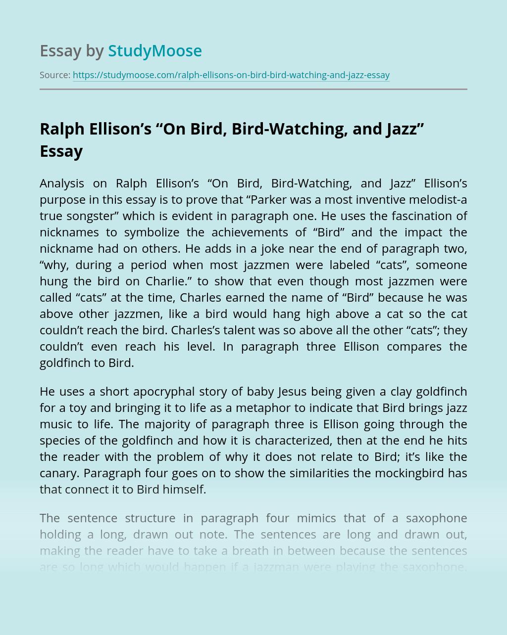 "Ralph Ellison's ""On Bird, Bird-Watching, and Jazz"""