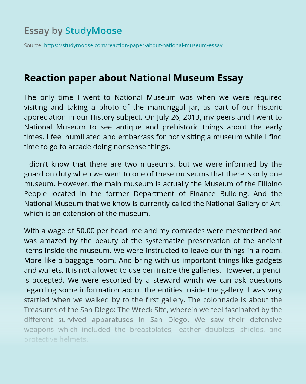 Reaction paper about National Museum
