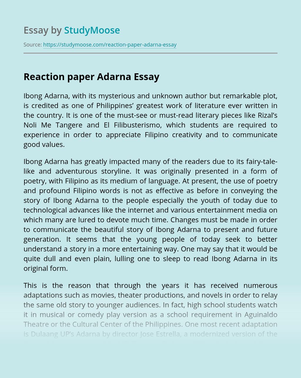 Reaction paper Adarna