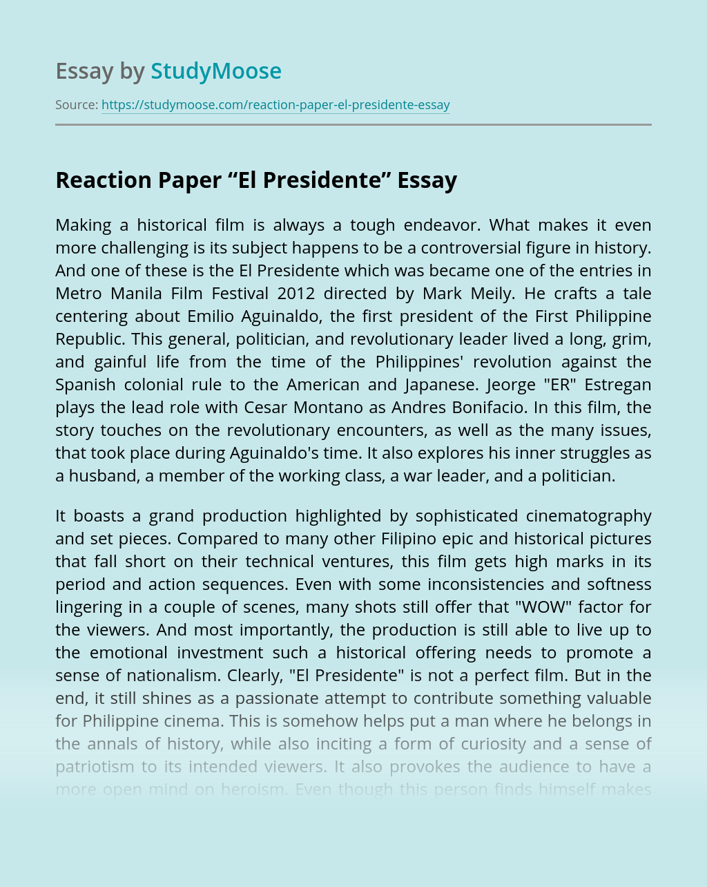 "Reaction Paper ""El Presidente"""