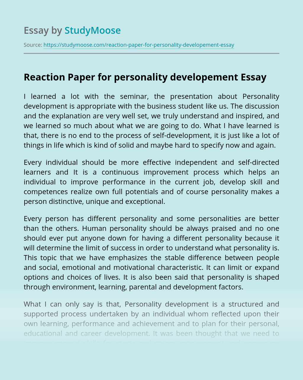 Reaction Paper for personality developement