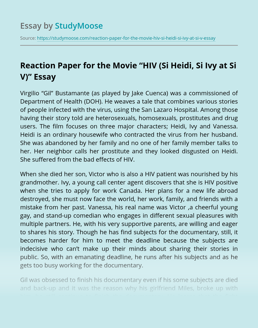 "Reaction Paper for the Movie ""HIV (Si Heidi, Si Ivy at Si V)"""