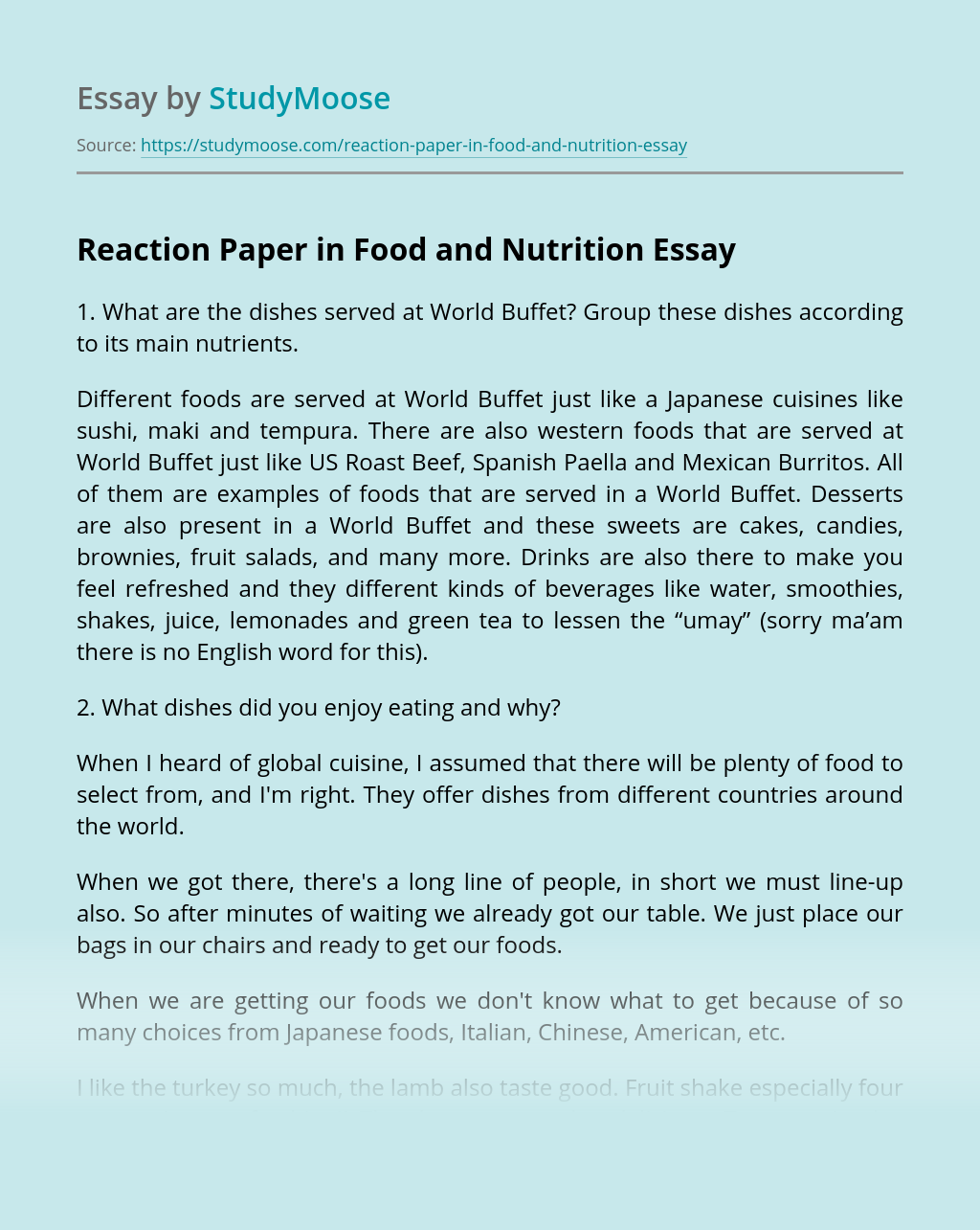 Reaction Paper in Food and Nutrition