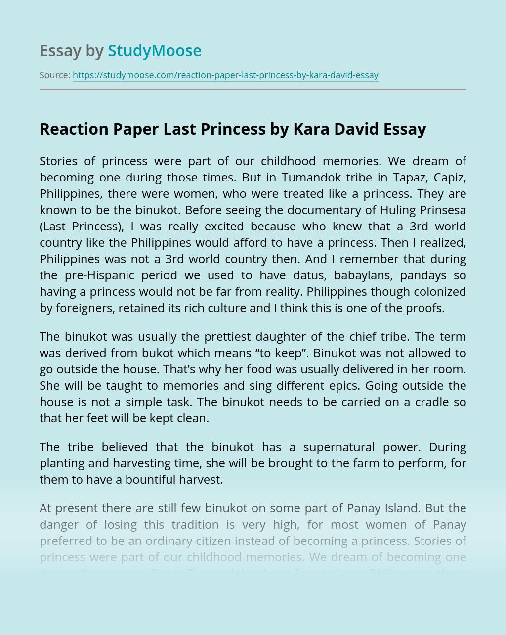 Reaction Paper Last Princess by Kara David