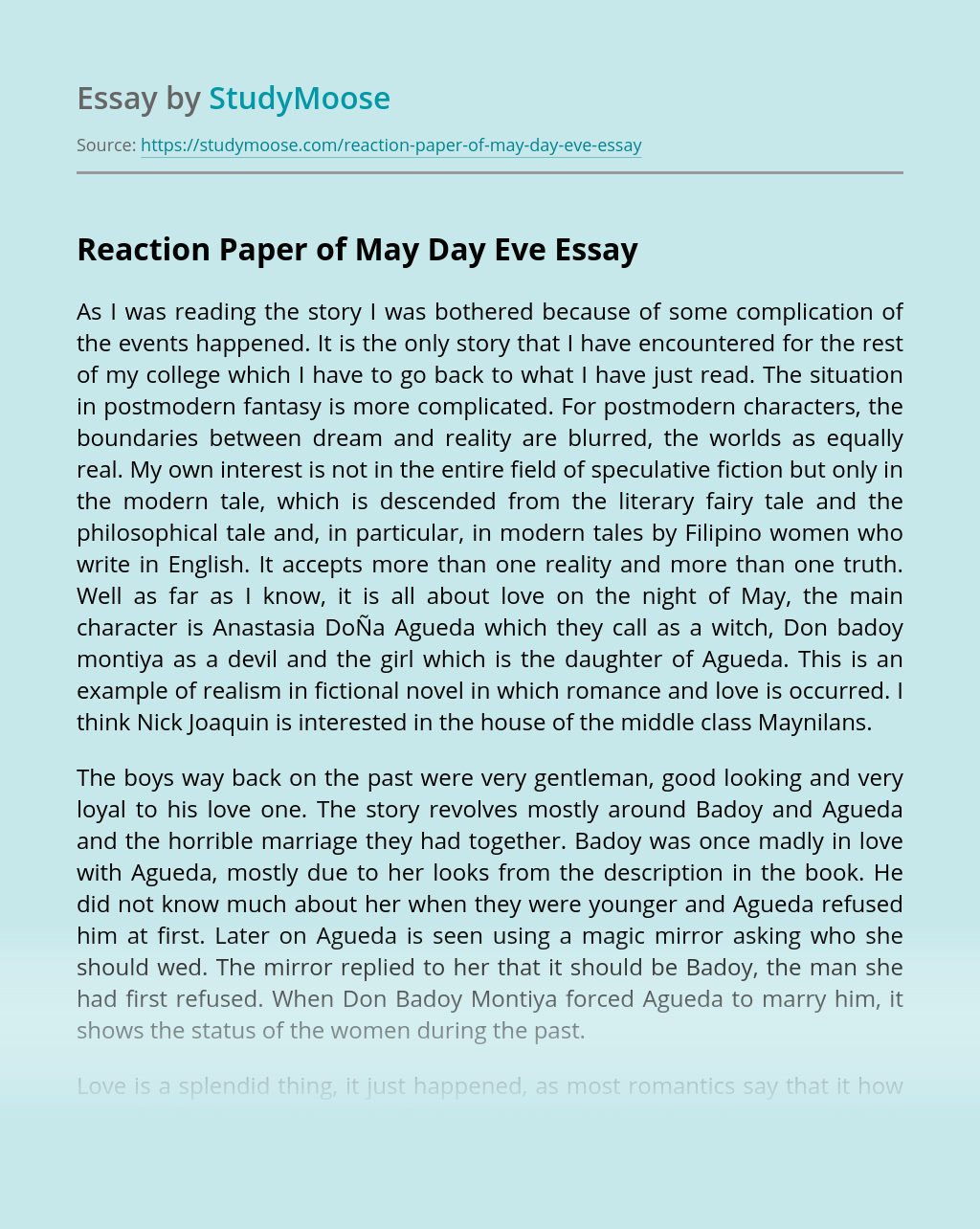 Reaction Paper of May Day Eve