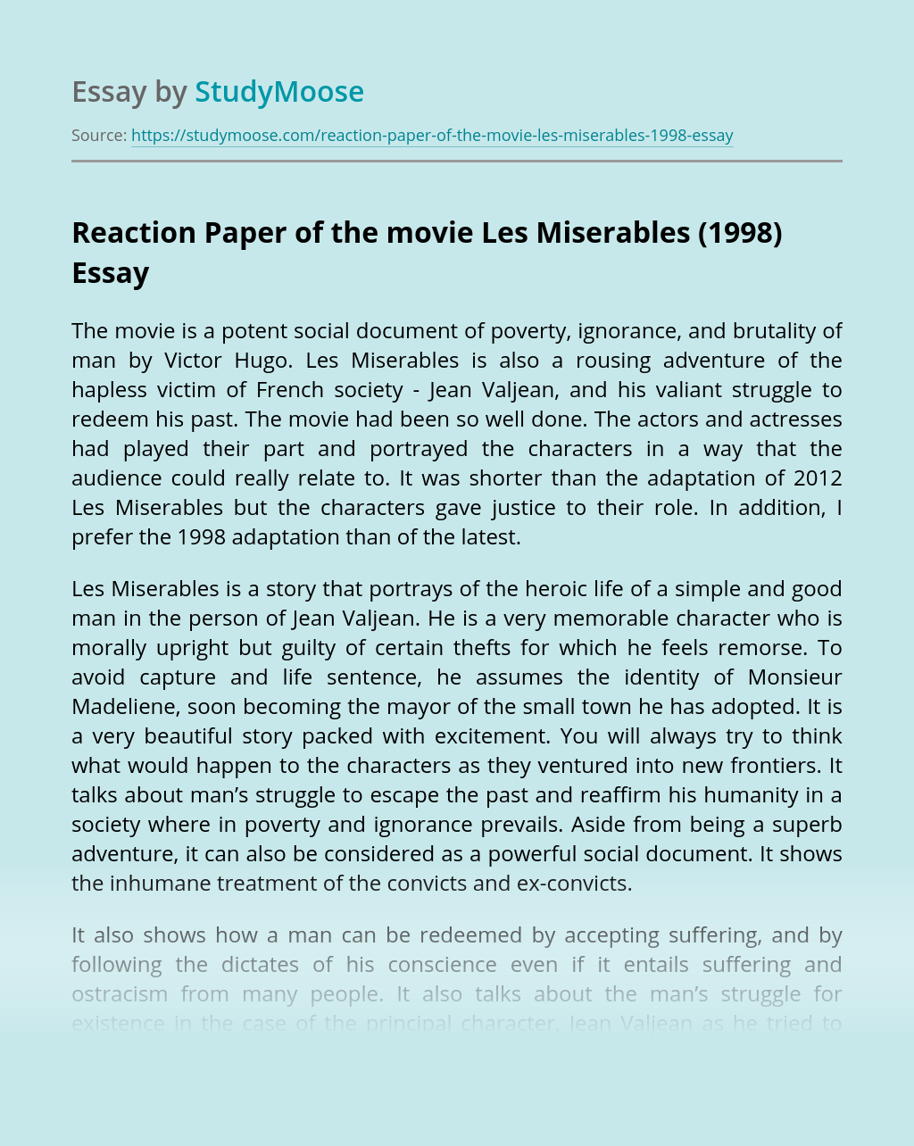 Reaction Paper of the movie Les Miserables (1998)