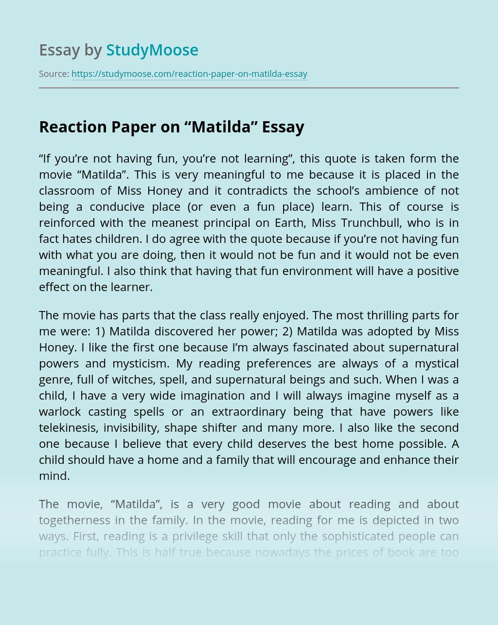 "Reaction Paper on ""Matilda"""