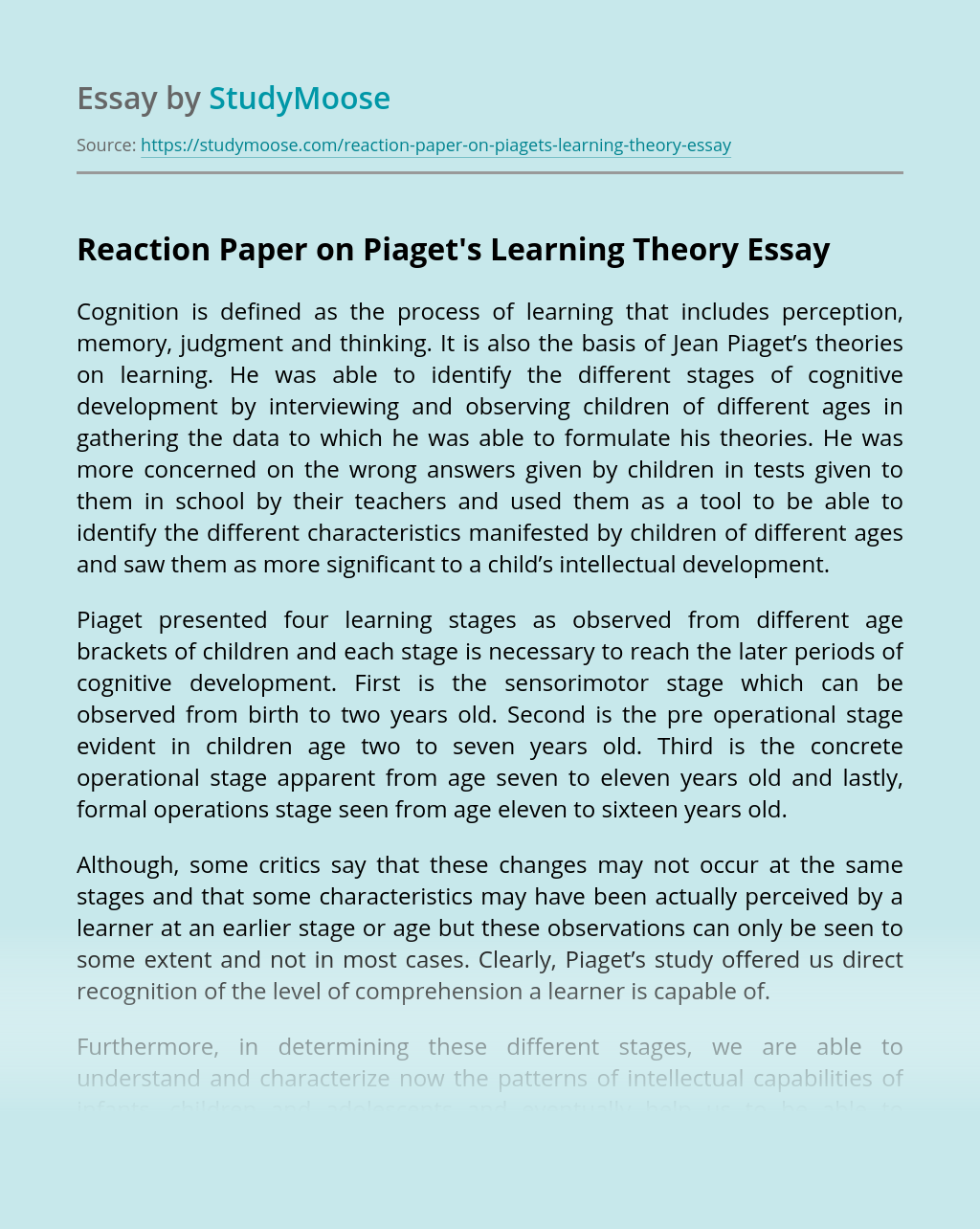 Reaction Paper on Piaget's Learning Theory