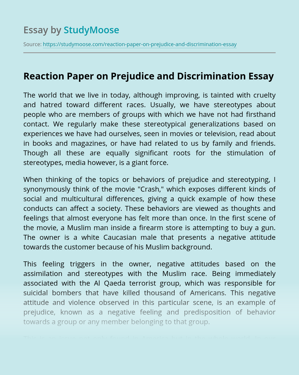 Reaction Paper on Prejudice and Discrimination
