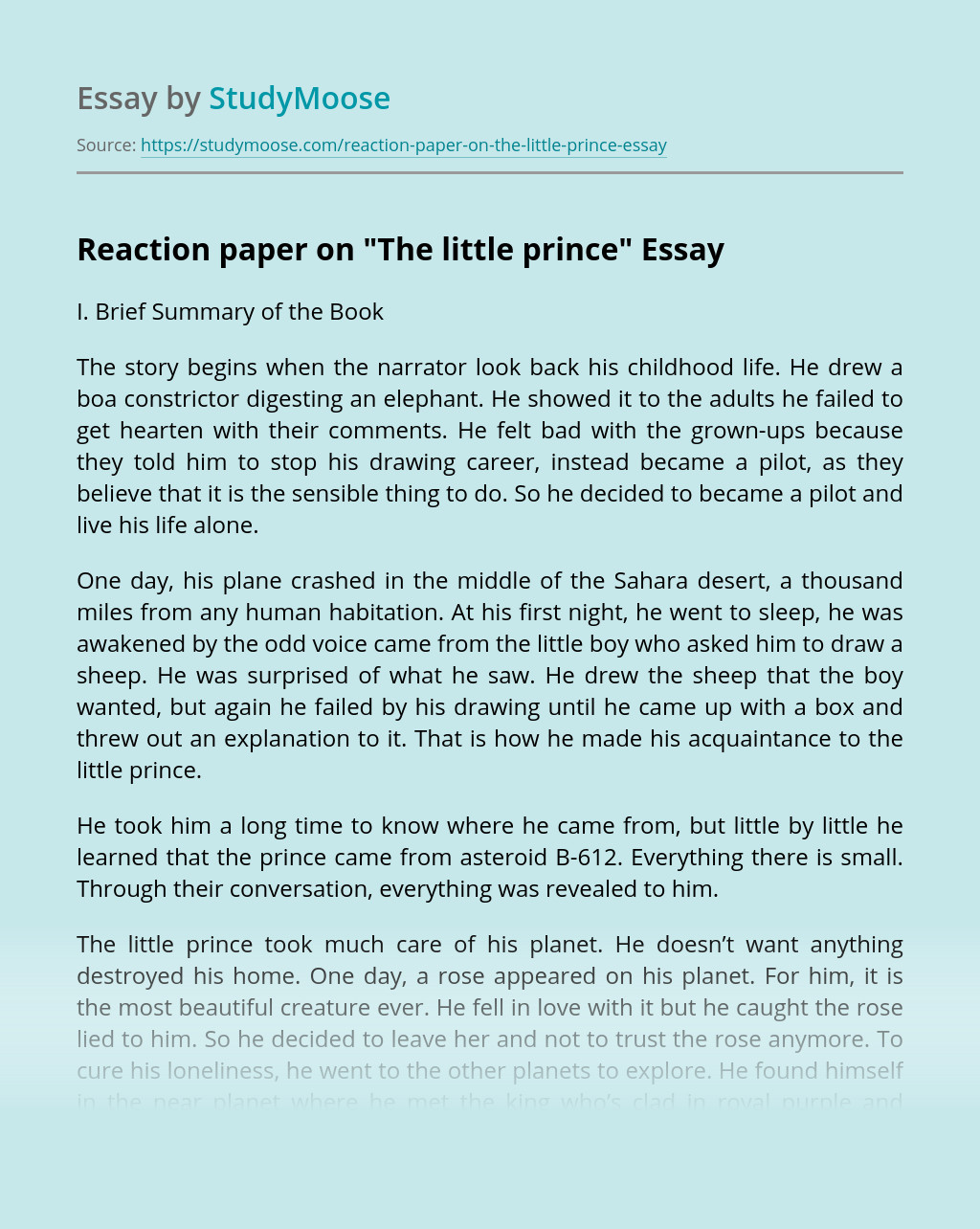 Reaction paper on
