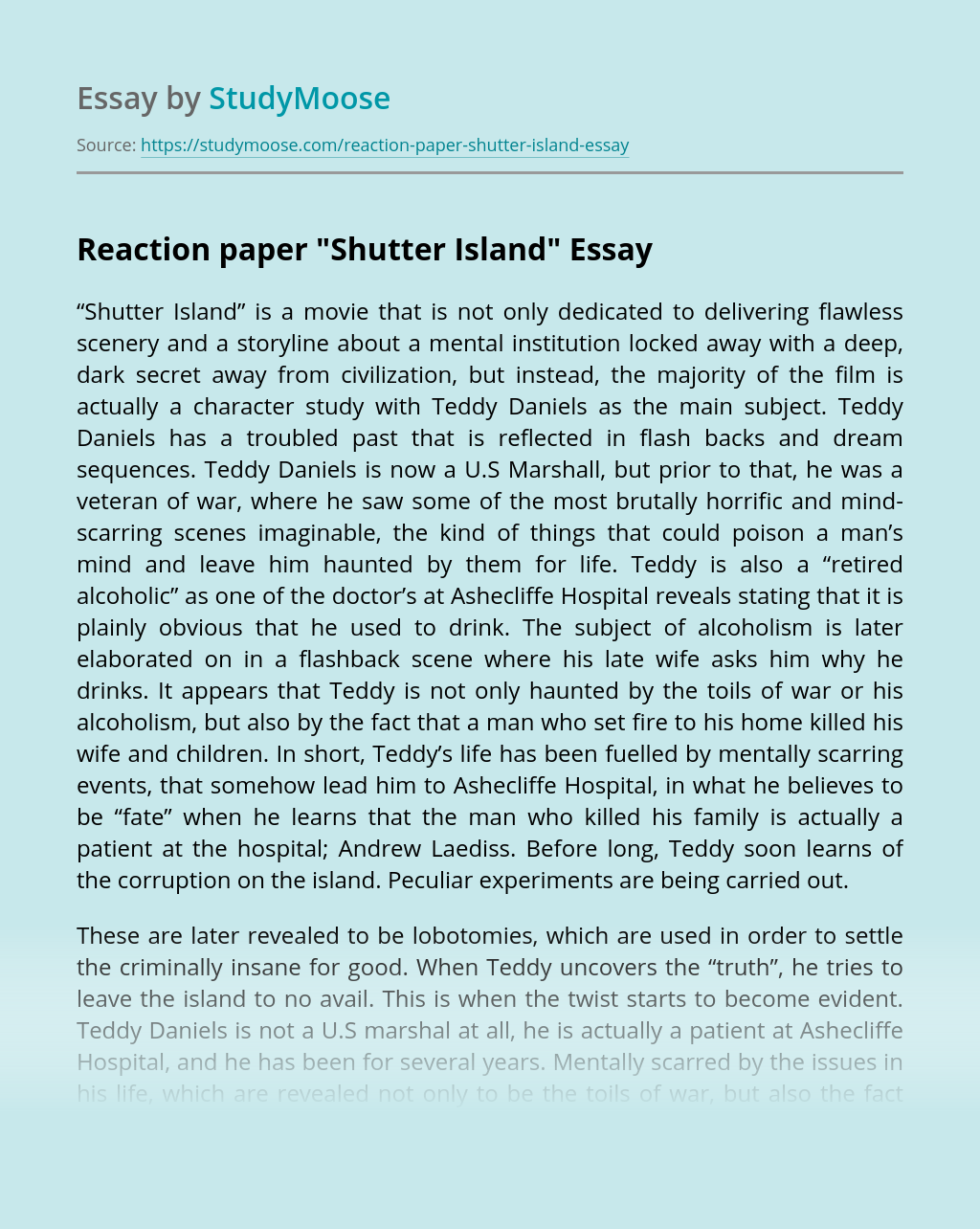 """Reaction paper """"Shutter Island"""""""