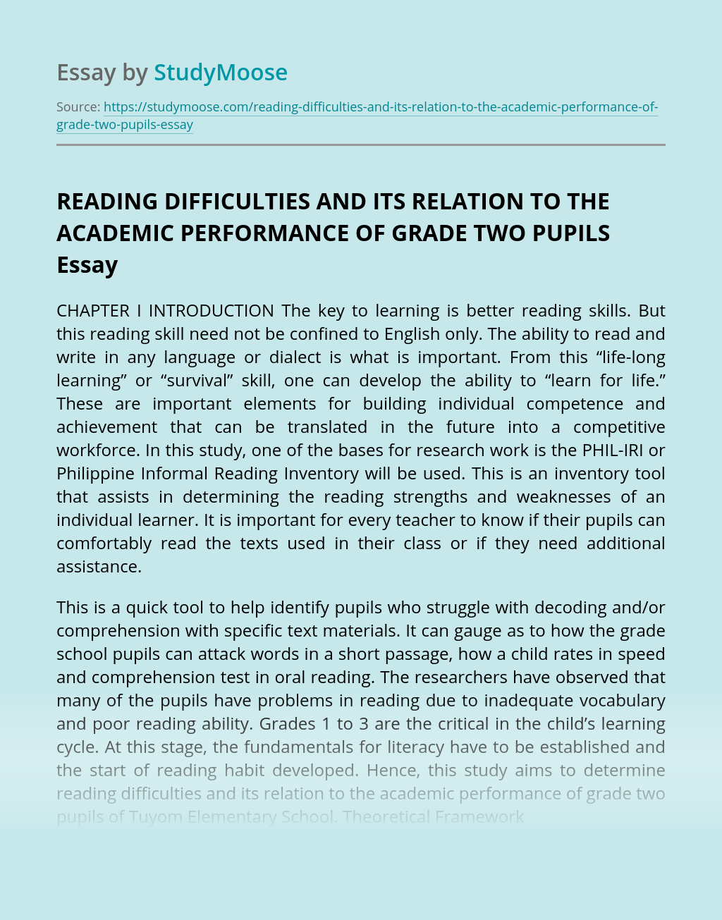 READING DIFFICULTIES AND ITS RELATION TO THE ACADEMIC PERFORMANCE OF GRADE TWO PUPILS