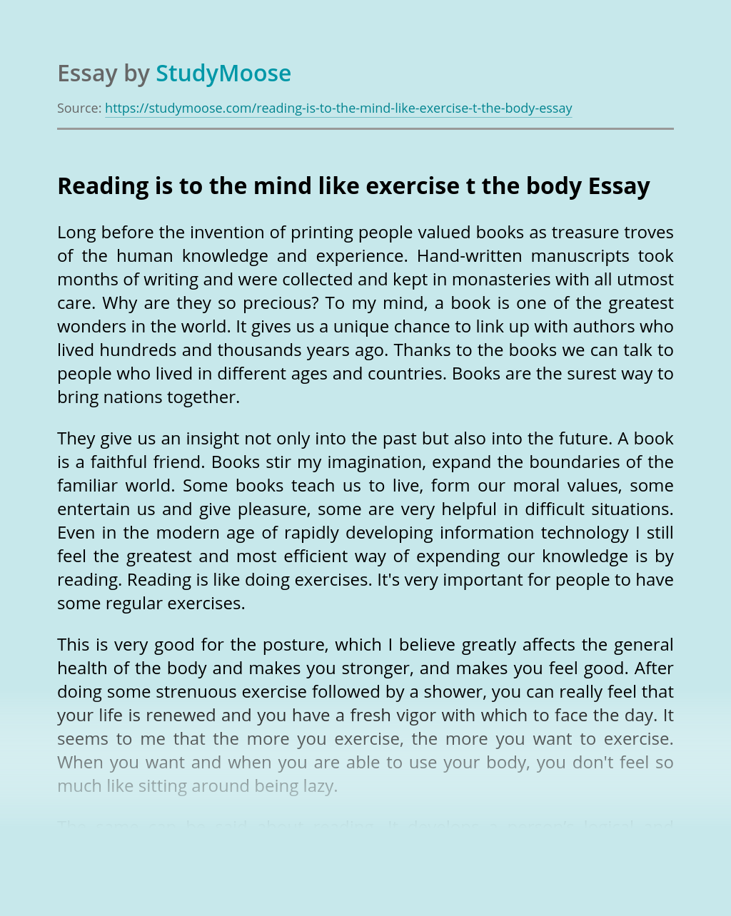 Reading is to the mind like exercise t the body