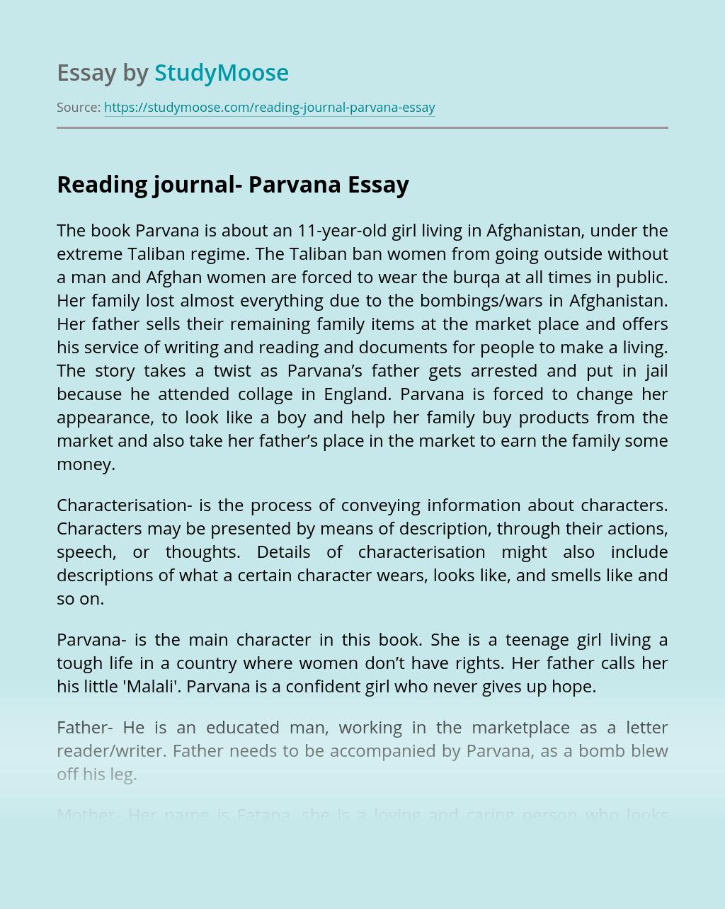 Reading journal- Parvana