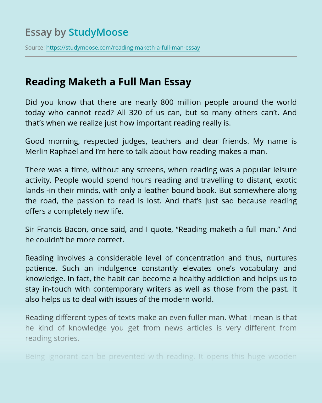 Reading Maketh a Full Man