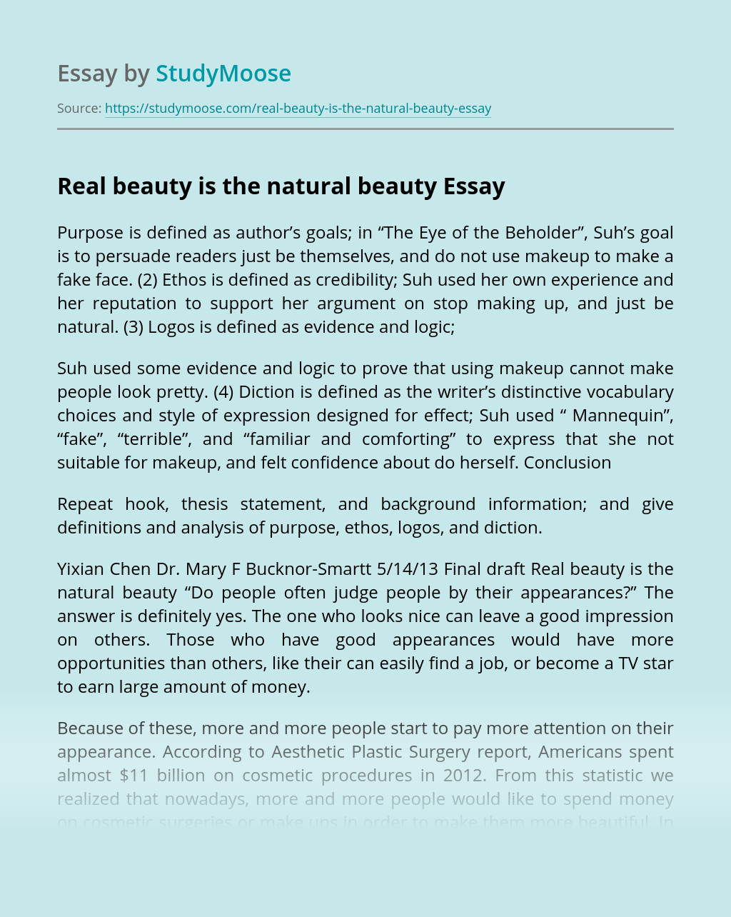 Real beauty is the natural beauty