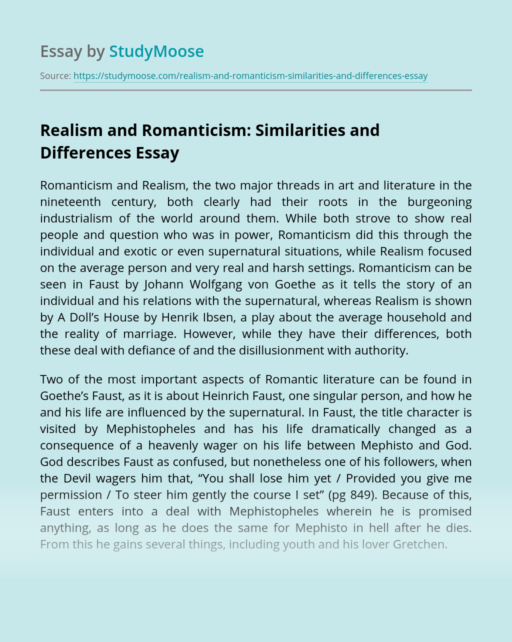 Realism and Romanticism: Similarities and Differences